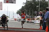 All smiles - Zersenay Tadese smashing the World Record in the Half Marathon in Lisbon (Marcelino Almeida)