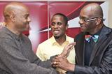 4-time World Long champion Dwight Phillips, flanked by WR holder Mike Powell and former WR holder Bob Beamon (Philippe Fitte)