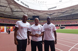 Mike Powell, Colin Jackson and Michael Johnson at the National Stadium in Beijing (IAAF)