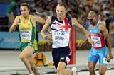 David Greene (C) of Great Britain celebrates after crossing the finish line and claiming gold ahead of L.J. van Zyl (L) of South Africa and Felix Sanchez of Dominican Republic in the men's 400 metres hurdles final  (Getty Images)