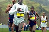 Kipchoge on his way to victory in the 2005 Edinburgh xc (Mark Shearman)