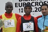 Men's podium at 2012 ING Eurocross meeting in Diekirch: runner-up Albert Rop, winner Japheth Korir and Tasama Dame (Rosch Kohl)