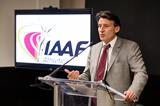 IAAF President Sebastian Coe speaks to IAAF staff in Monaco (Philippe Fitte / IAAF)