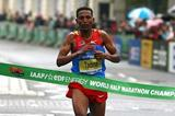 Zersenay Tadese crosses the line for his fourth title in Birmingham (Getty Images)