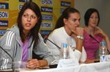 Blanka Vlasic (l), Yelena Isinbayeva (c) and Jana Rawlinson at the pre-meet press conference in Stuttgart (Getty Images)