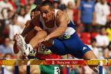Roman Sebrle competes in the 110m hurdles at the start of day two of the decathlon (Getty Images)