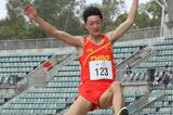 Long jumper Wang Jianan in action at the 2013 Australian Youth Olympic Festival (David Tarbotton)