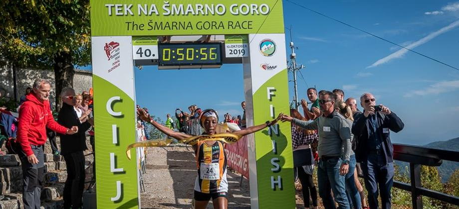 Lucy Murigi takes the honours at the 2019 Smarna Gora Mountain Race (Marco Gulberti/WMRA)