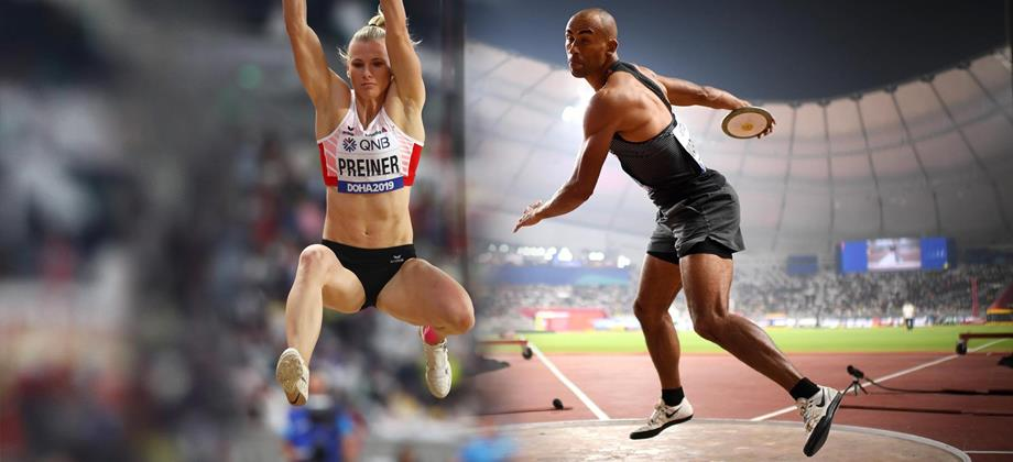 Austrian heptathlete Verena Preiner and Canadian decathlete Damian Warner at the IAAF World Athletics Championships Doha 2019 (Getty Images)