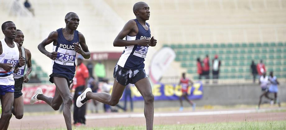 Eventual winner Geoffrey Kamworor (238) in the 10,000m at the Kenyan Championships in Nairobi (Athletics Kenya)