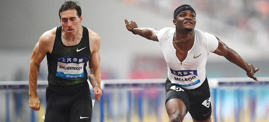 Omar McLeod wins the 110m hurdles at the IAAF Diamond League meeting in Shanghai (AFP / Getty Images)