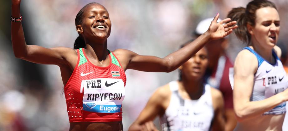 Faith Kipyegon wins the 1500m at the IAAF Diamond League meeting in Stanford (Getty Images)