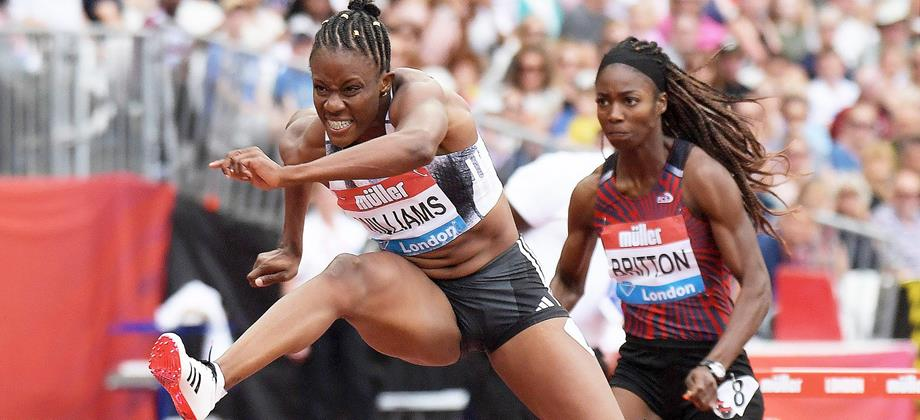 Danielle Williams en route to a 12.32 Jamaican record in the 100m hurdles at the IAAF Diamond League meeting in London (Kirby Lee)
