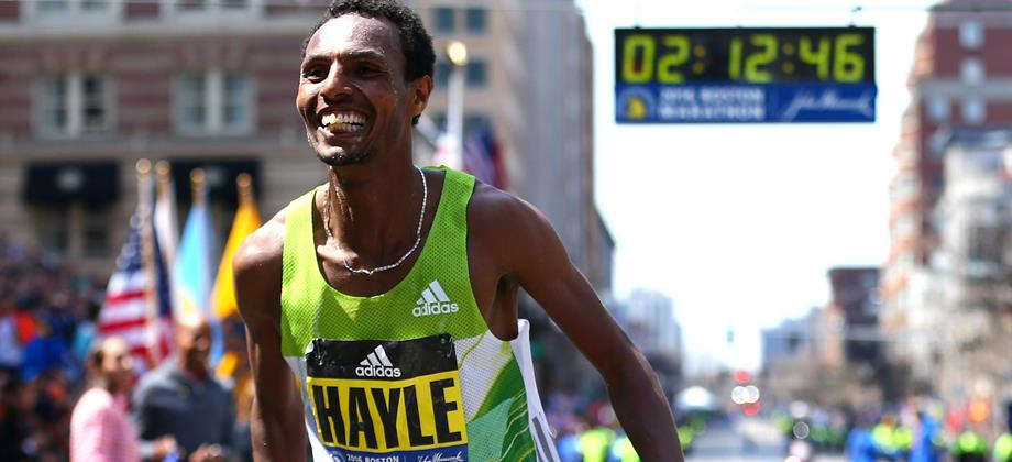 Lemi Berhanu Hayle after winning the 2016 Boston Marathon (Getty Images)