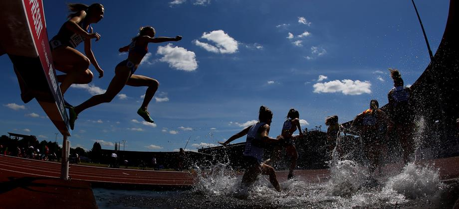 Steeplechasers in action at Birmingham's Alexander Stadium (Getty Images)