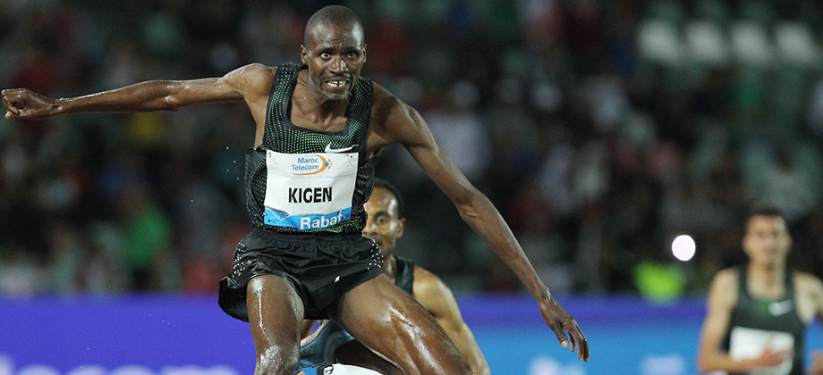 Benjamin Kigen on his way to winning the steeplechase at the IAAF Diamond League meeting in Rabat (Jean-Pierre Durand)