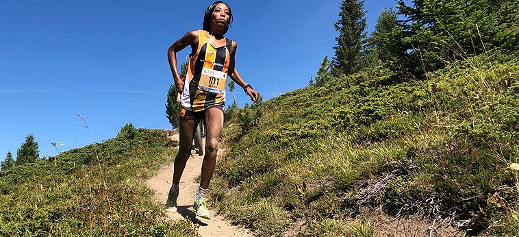 Lucy Murigi Wambui on her way to winning the WMRA World Cup race in Sierre-Zinal (Justin Britton / organisers)