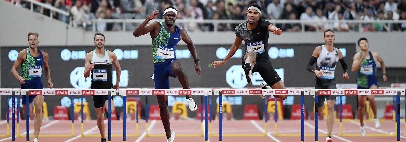 Abderrahman Samba leads Rai Benjamin in the 400m hurdles at the IAAF Diamond League meeting in Shanghai (Errol Anderson)