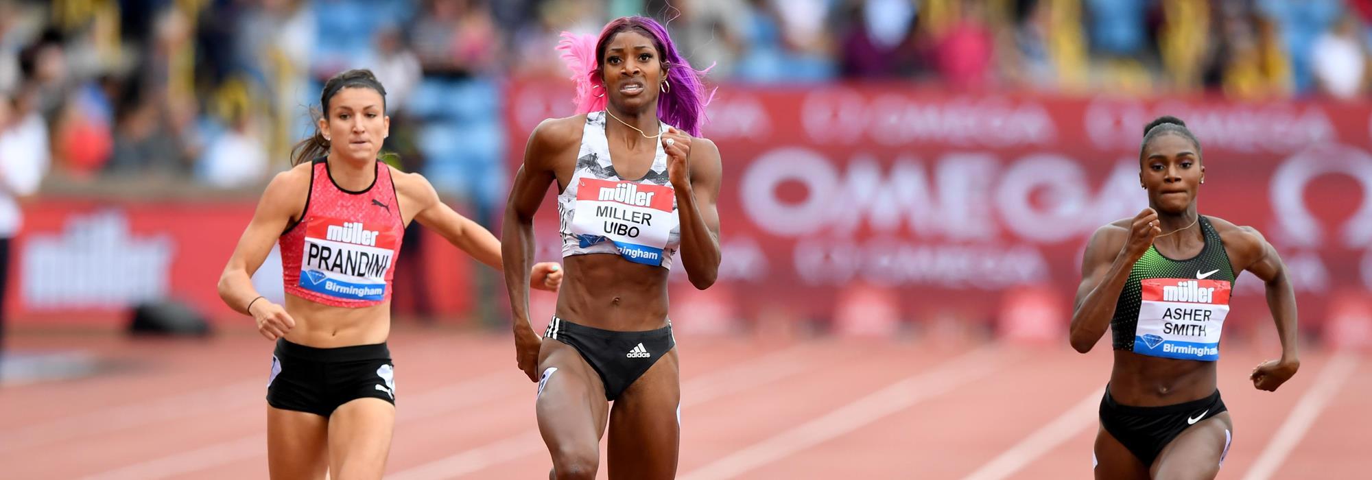 Shaunae Miller-Uibo wins the Birmingham 200m showdown (Jiro Mochizuki)