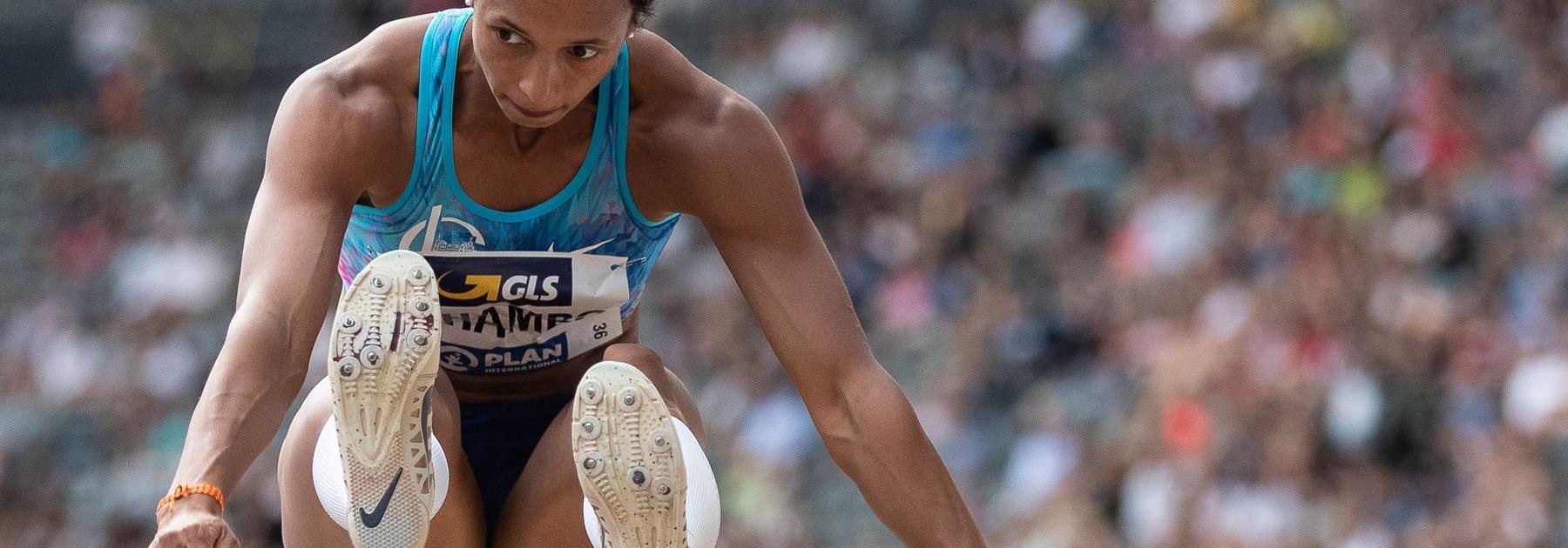 Malaika Mihambo sails to 7.16m in the long jump at the German Championships (Bongarts / Getty Images)