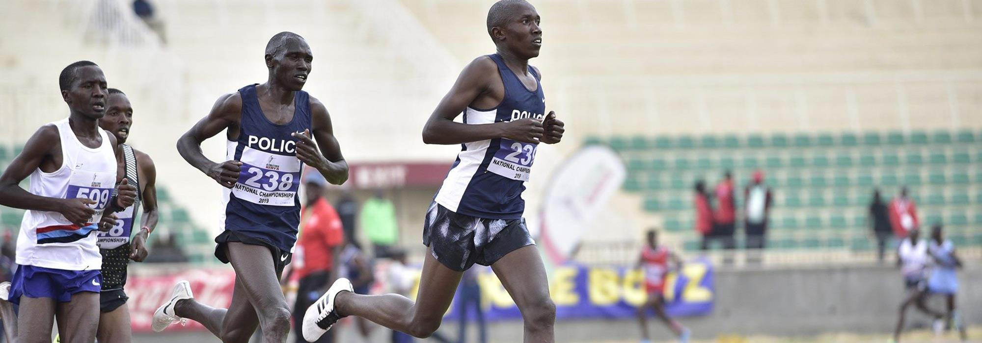 Eventual winner Geoffrey Kamworor (238) in the 10,000m at the Kenyan Championships in Nairobi (Athletics Kenya)