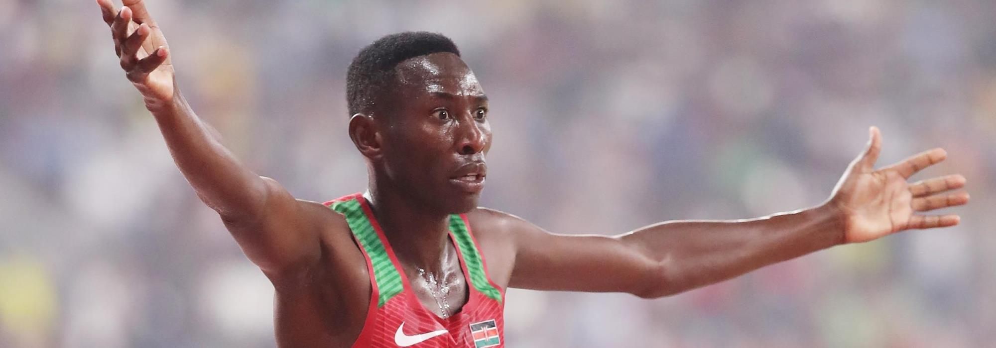 Conseslus Kipruto after winning the steeplechase at the IAAF World Athletics Championships Doha 2019 (Getty Images)