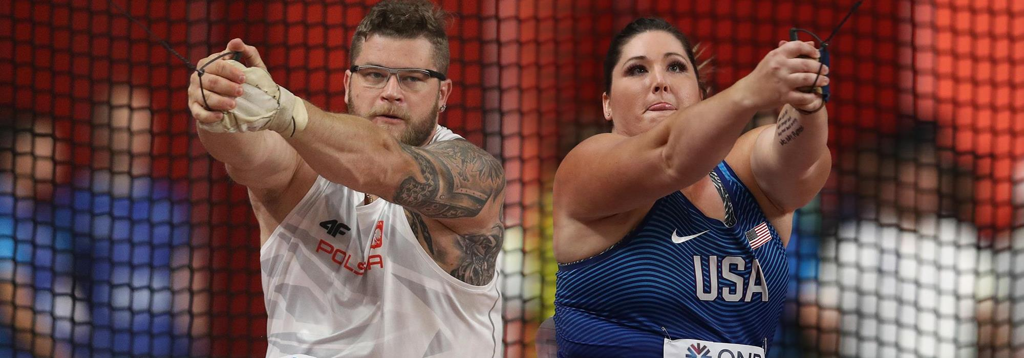 Pawel Fajdek and DeAnna Price, winners of the hammer at the IAAF World Athletics Championships Doha 2019 (Getty Images)
