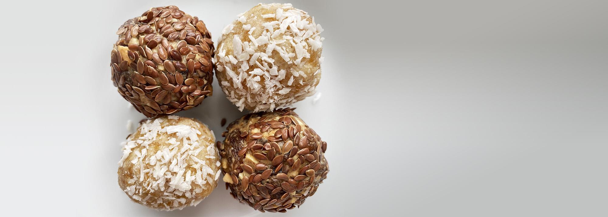 Apricot & almond and cashew & raisin energy balls