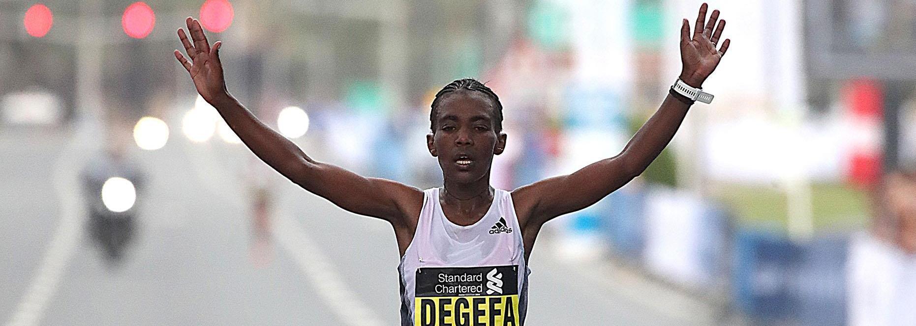 Degefa sizzles 2:19:38 in Dubai, debutant Adugna prevails in men's race