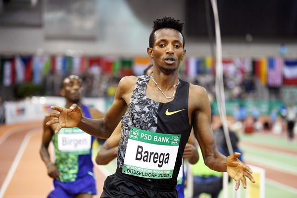 Selemon Barega wins the 3000m at the World Athletics Indoor Tour meeting in Dusseldorf (Gladys Chai von der Laage)