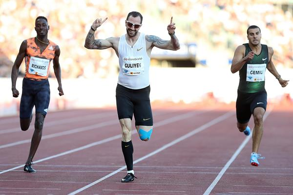 Ramil Guliyev wins the Oslo 200m (Giancarlo Colombo)