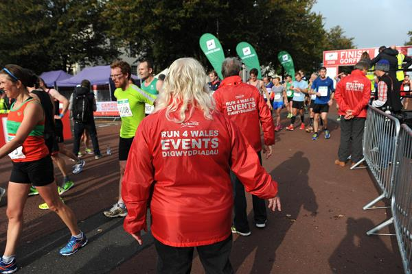 finish line stewards at the 2015 Cardiff Half Marathon (Mark Shearman)