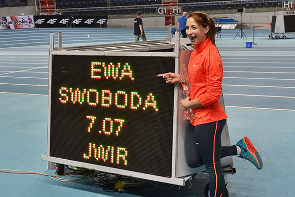 Ewa Swoboda after setting a world junior indoor 60m record of 7.07 in Torun (Maciej Pruss)