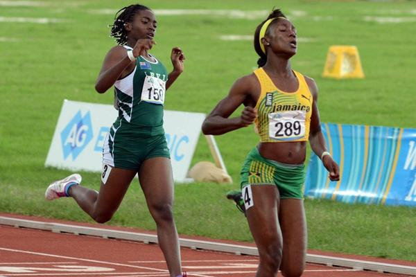 Jamaica's Nataliah Whyte wins the girls' under 17 200m at the 2013 Carifta Games (Anthony Foster)