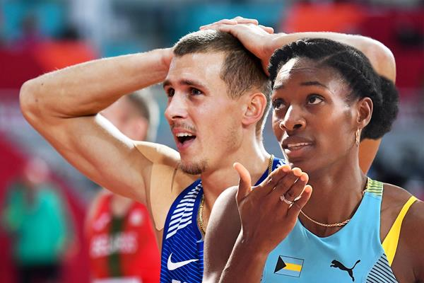 Estonia's Maicel Uibo and Shaunae Miller-Uibo of The Bahamas at the IAAF World Athletics Championships Doha 2019 (AFP / Getty Images)