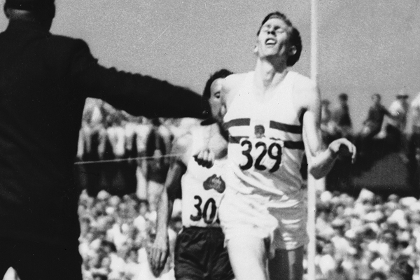 Roger Bannister wins the mile at the 1954 Commonwealth Games in Vancouver (Getty Images)