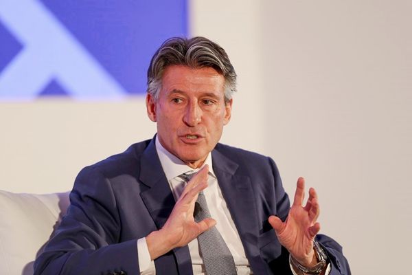 IAAF President Sebastian Coe speaking at the Sport Business Summit in Abu Dhabi (Leaders)