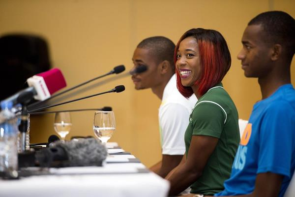 Shelly-Ann Fraser-Pryce ahead of the 2014 Diamond League meeting in Doha (Deca Text & Bild)