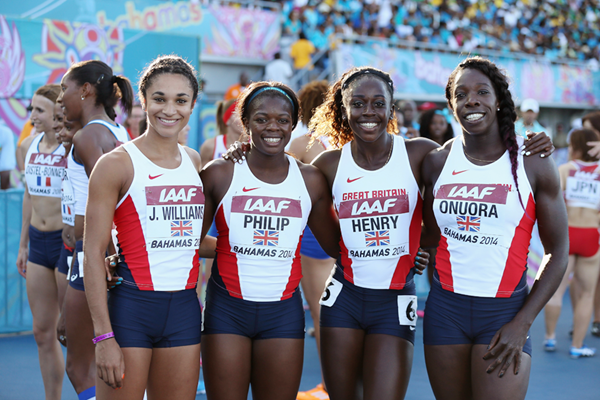 Jodie Williams, Asha Philip, Desiree Henry and Anyika Onuora at the IAAF World Relays (Getty Images)