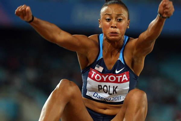 USA's Tori Polk in the long jump (Getty Images)
