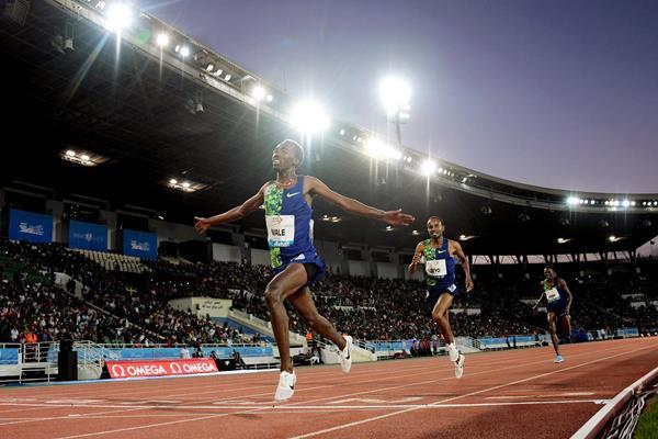 Getnet Wale wins the 3000m steeplechase at the IAAF Diamond League meeting in Rabat (Kirby Lee)