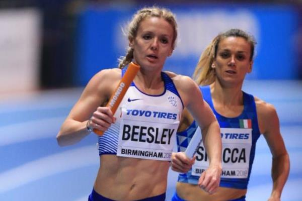Britain's Meghan Beesley in the 4x400m at the IAAF World Indoor Championships Birmingham 2018 (Getty Images)