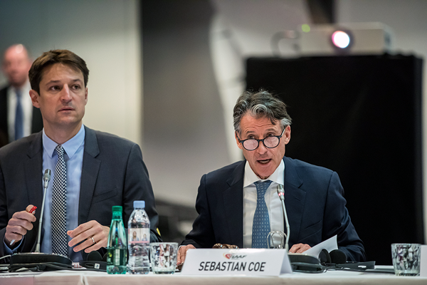 IAAF President Sebastian Coe at the 208th IAAF Council Meeting in Monaco (Philippe Fitte / IAAF)