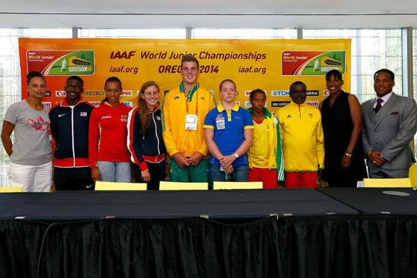 Joanna Hayes, Trayvon Brommell, Ana Peleteiro, Mary Cain, Matthew Denny, Sofi Flink, Dawit Seyaum, Jackie Joyner-Kersee and Ato Boldon at the press conference ahead of the IAAF World Junior Championships, Oregon 2014 (Getty Images)