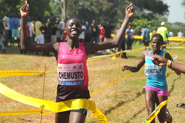 Janat Chemusto wins the junior women's race at the Ugandan Cross Country Championships (Namayo Mawerere)