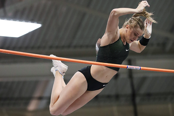 Katie Nageotte wins the pole vault at the IAAF World Indoor Tour meeting in Boston (Victah Sailer)