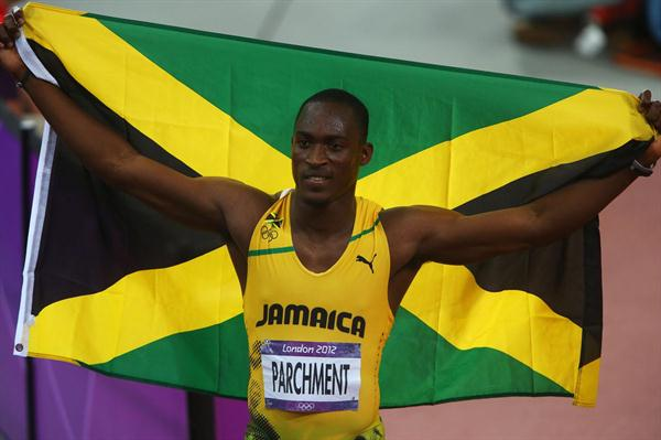 Hansle Parchment of Jamaica celebrates winning bronze in the Men's 110m Hurdles Final on Day 12 of the London 2012 Olympic Games at Olympic Stadium on August 8, 2012 (Getty Images)