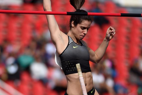 Ekaterini Stefanidi in the pole vault at the IAAF Diamond League meeting in Rabat (Kirby Lee)