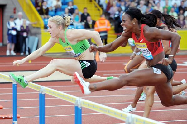 Sally Pearson hurdling to victory ahead of USA's Danielle Carruthers at the Birmingham Diamond League  (Mark Shearman)