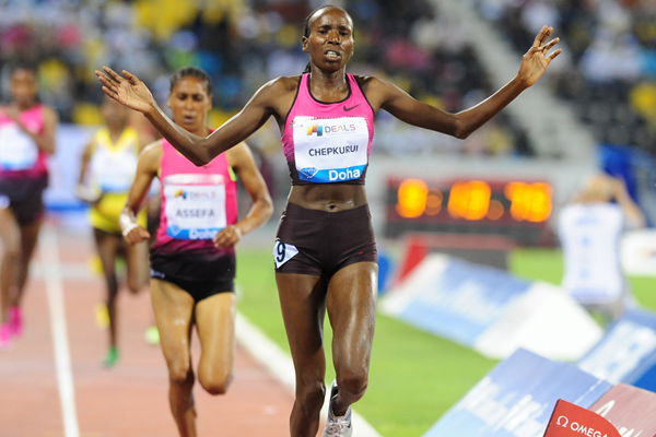Lidya Chepkurui breaks the steeplechase meeting record at the IAAF Diamond League meeting in Doha (Errol Anderson)